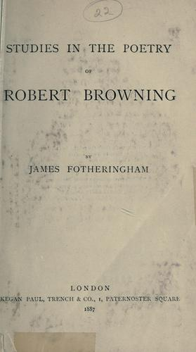 Download Studies in the poetry of Robert Browning.