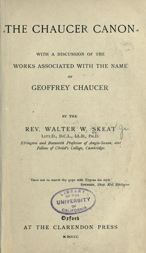Download The Chaucer canon, with a discussion of the works associated with the name of Geoffrey Chaucer