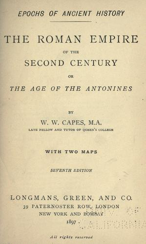 Download The Roman empire of the second century: or, The age of the Antonines.