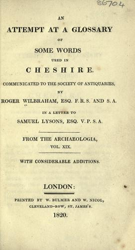 Download An attempt at a glossary of some words used in Cheshire