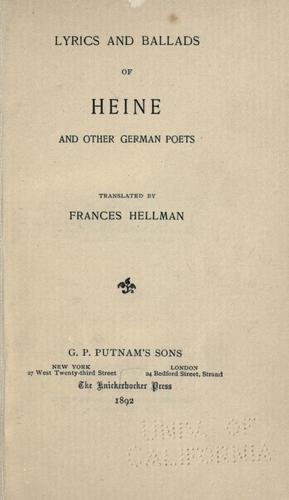 Lyrics and ballads of Heine and other German poets