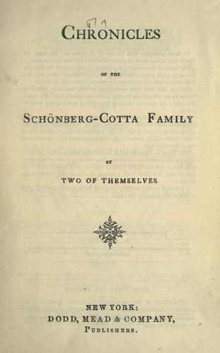 Download Chronicles of the Schönberg-Cotta family