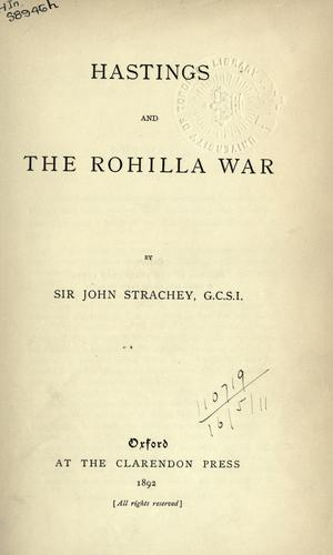 Hastings and the Rohilla War.