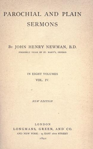 Parochial and plain sermons by John Henry Newman