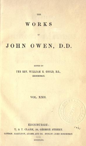 Download The works of John Owen, Vol V