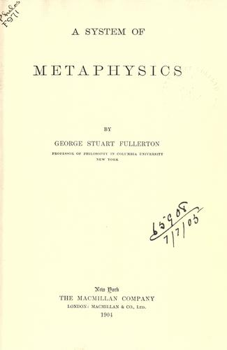 A system of metaphysics.