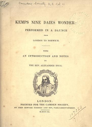 Kemps nine daies wonder