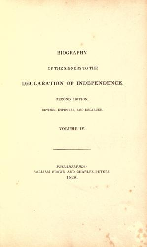 Biography of the signers to the Declaration of independence.
