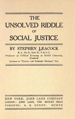 Download The unsolved riddle of social justice