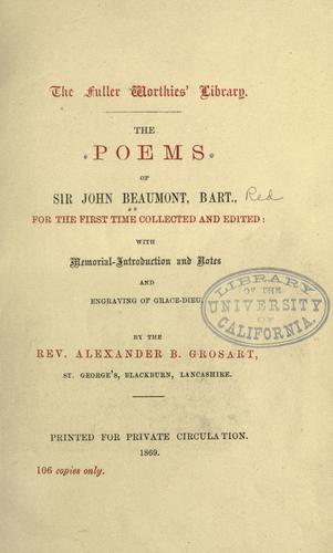 The poems of Sir John Beaumont, bart.