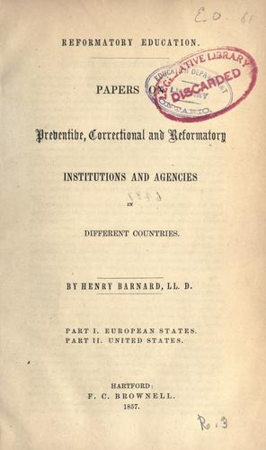 Reformatory education by Henry Barnard