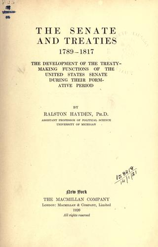 Download The Senate and treaties, 1789-1817