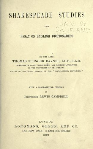 Shakespeare studies, and essay on English dictionaries