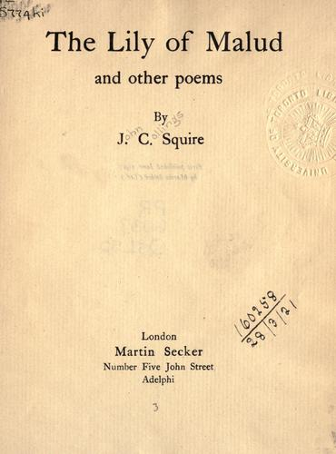 The Lily of Malud, and other poems.