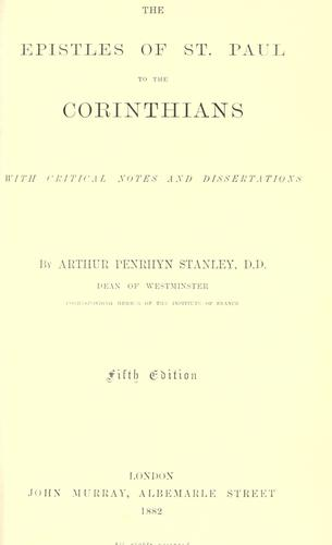 The Epistles of St. Paul to the Corinthians