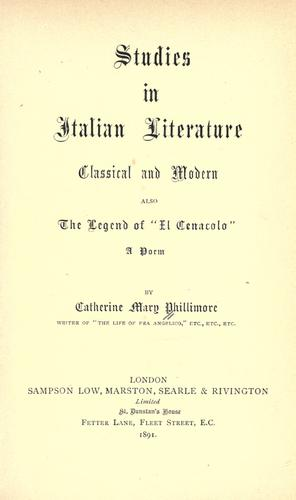 Studies in Italian literature, classical and modern.