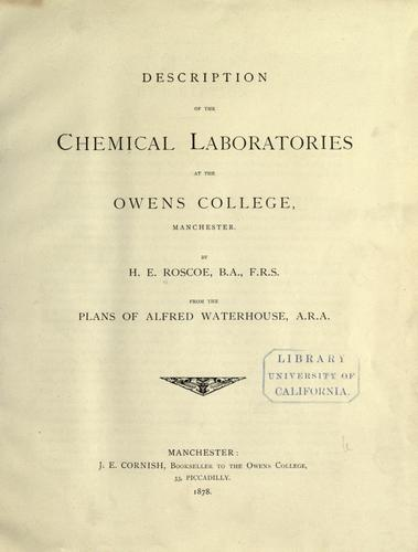 Download Description of the chemical laboratories at the Owens college, Manchester.