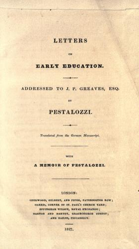 Letters on early education.