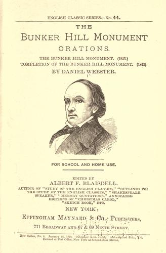 Download The Bunker Hill monument orations
