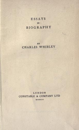 Essays in biography.