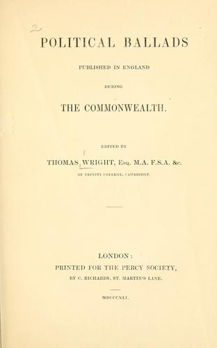 Download Political ballads published in England during the commonwealth.