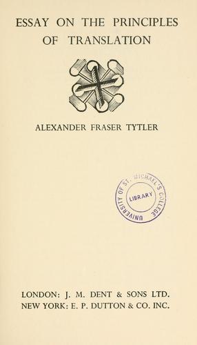 Essay on the principles of translation