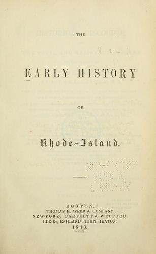 An historical discourse, on the civil and religious affairs of the colony of Rhode-Island.