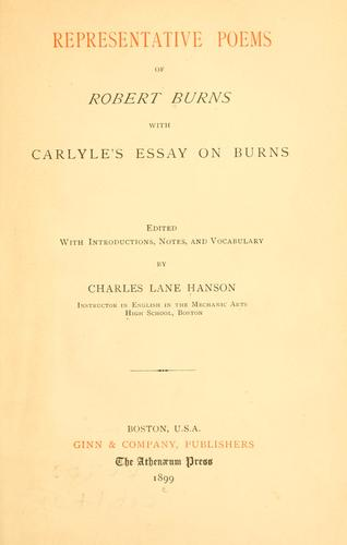 Representative poems of Robert Burns by Robert Burns