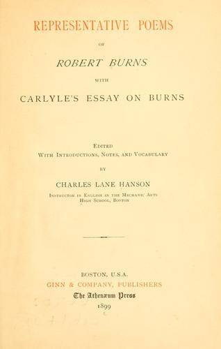 Representative poems of Robert Burns