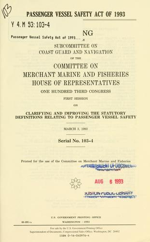 Download Passenger Vessel Safety Act of 1993
