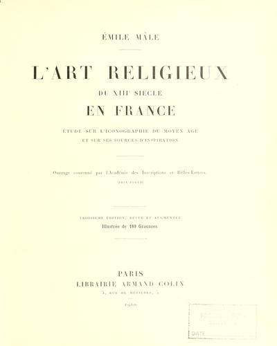 L' art religieux du XIIIe siècle en France