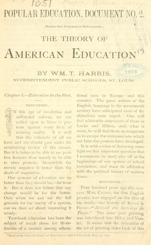 Download The theory of American education.