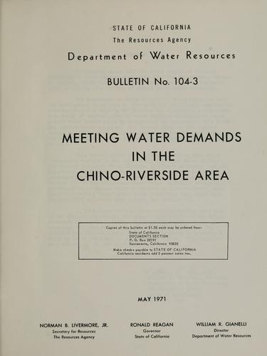 Meeting water demands in the Chino-Riverside area.