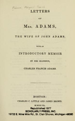 Download Letters of Mrs. Adams, the wife of John Adams