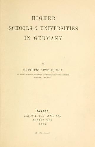 Higher schools & universities in Germany.