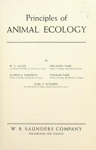 Principles of animal ecology