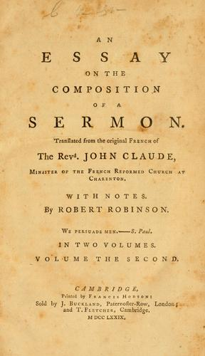 Traité de la composition d'un sermon by Jean Claude