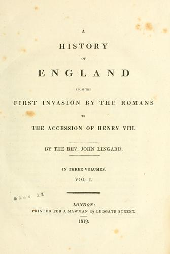The history of England, from the first invasion by the Romans …