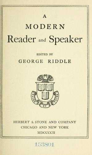 Download A modern reader and speaker