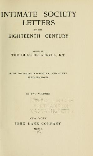 Download Intimate society letters of the eighteenth century.