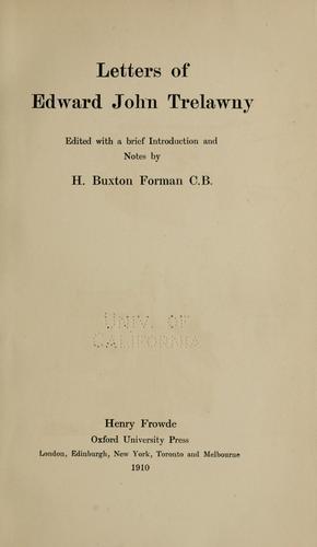 Letters of Edward John Trelawny