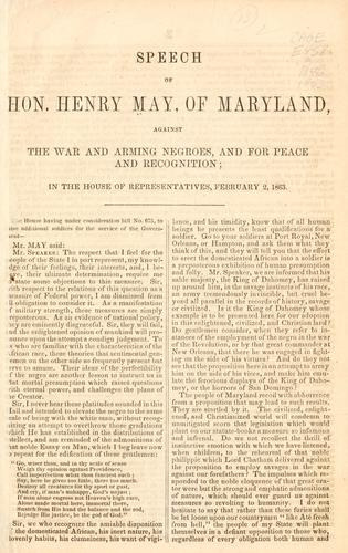 Download Speech of Hon. Henry May, of Maryland