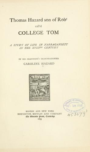 Download Thomas Hazard, son of Robt call'd College Tom.