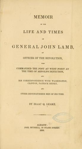 Download Memoir of the life and times of General John Lamb