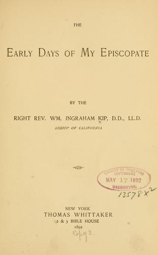 Download The early days of my episcopate.