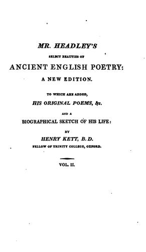 Select beauties of ancient English poetry.