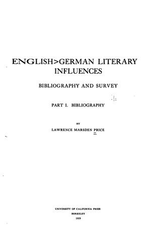English-German literary influences