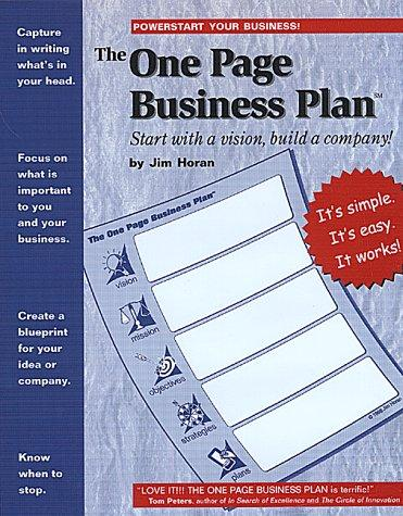 The one page business plan