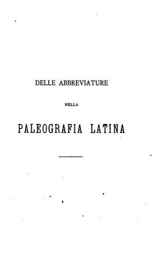 Delle abbreviature nella paleografia latina