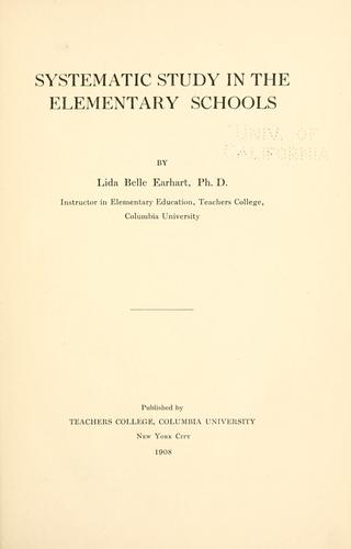 Systematic study in the elementary schools